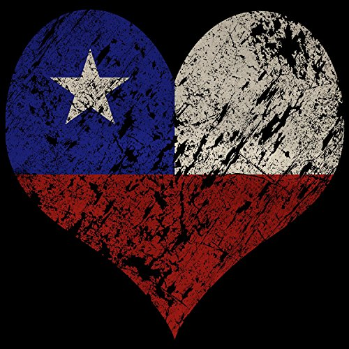 Fashionalarm Herren T-Shirt - I Love Chile | Fun Shirt Trikot mit Vintage Flagge Print für Fußball & Südamerika Fans | Patagonien Feuerland | WM Schwarz