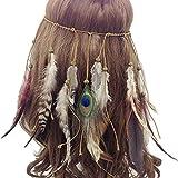 our fantasy time sehr Schöne Indianer Stirnband mit wild Feder und Holz Perlen, Hippie Boho kopfschmuck,Accessoire für Fasching, Karneval, Halloween party,