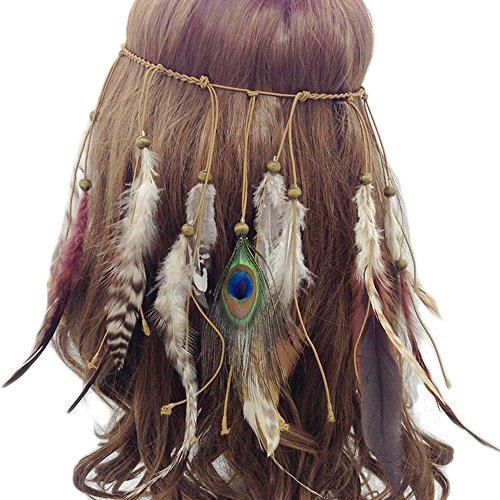 our fantasy time sehr Schöne Indianer Stirnband mit wild Feder und Holz Perlen,Baumwollgarn Flechten Haarband, Hippie Boho kopfschmuck, Damen Haarschmuck, sehr schöne Accessoire für Fasching, Karneval, Halloween party, Maskerade usw.