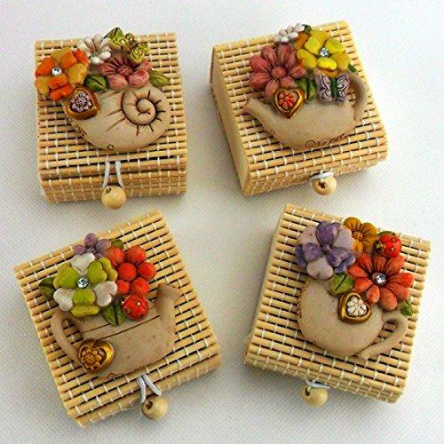 Bomboniere (4 bomboniere) scatolina con calamita fiori (scatolina bambù)