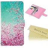"""General Universal 4.0"""" (iPhone 5/5s/5C/SE) Funda Y Billetera Con Tapa para Tarjetas [PU Leather] - Mavis's Diary Case Cover Cierre Magnético - Diseño de la flor del ciruelo"""
