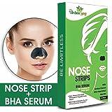 Urban Yog Nose Strips (4 Strips) Black/Whitehead Remover + BHA Serum to Treat Pores