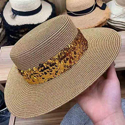 Qunimeide Bling Bling Gold Pailletten Sommer Hut breiter Krempe Strohhut einstellbare Strand Hut Sonnenhüte Frauen Mädchen Boater Cap 56-58cm