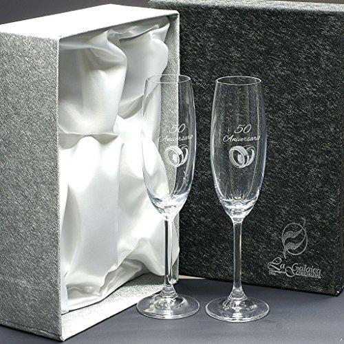 'Set/Confezione di 2calici da champagne, nozze d' argento/oro, anniversari, collezione