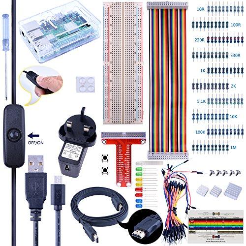 Hdmi-kühlkörper (Für Raspberry Pi 3Kuman komplett Starter Kit mit 2,5A Netzteil Micro USB Kabel mit Schalter, Steckplatine, T-Type GPIO Board, 40-Pin Flachbandkabel, Jumper Drähte, Kühlkörper, HDMI, Schraubendreher Schaltflächen Project Kit, Vintage)
