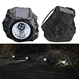 #8: Ascension ® Solar Rock Stone Lamp 4LED Decorative Landscape Path Light Waterproof Resin Rock Shape Night Lamp for Outdoor Garden Yard Lawn Pathway (Pack of 2)