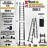 ESCABEAU-ÉCHELLE TÉLESCOPIQUE WOERTHER Triple Fonctions / 5M00-2M50 /avec Housse (Pack 2) / MODÈLE GRAFITEK, en Graphite ET Aluminium 7175T6 / avec Doubles Barres STABILISATRICES/Garantie 5 Ans
