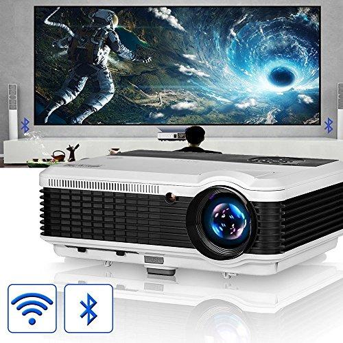 Beamer HD 1080p LCD Android Bluetooth WIFI 3600 Lumen Video Projektor Heimkino mit HDMI / VGA / AV / USB für Smartphone iPad Laptop PS4 TV