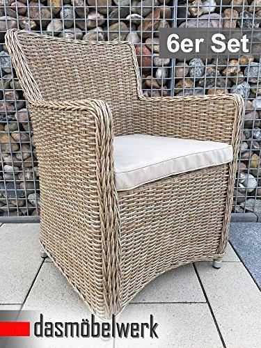 dasmöbelwerk 6er Set Polyrattan Stuhl mit Sitzpolstern Rattan Stuhl Relax Sessel Gartenmöbel...
