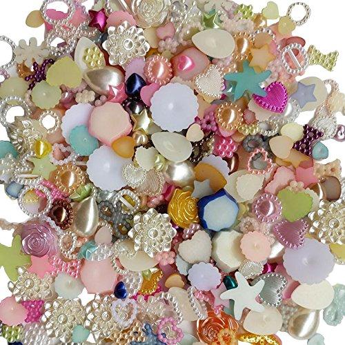 nde Perlen, flache Rückseite, lose Perlen, mix 100G ()