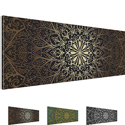 Bilder 110 x 40 cm - Abstrakt Bild - Vlies Leinwand - Kunstdrucke -Wandbild - XXL Format – mehrere Farben und Größen im Shop - Fertig Aufgespannt - Mandala – Orient 107411a