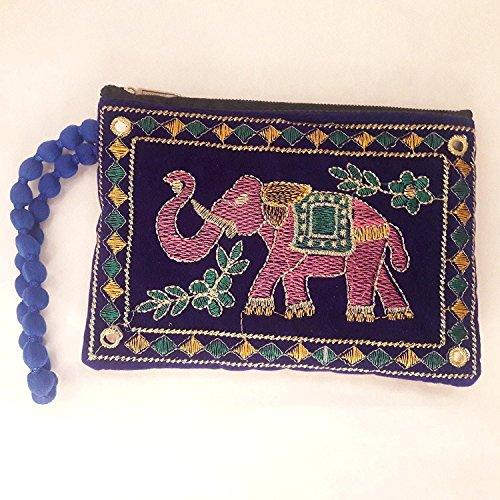 Bolso de bordado con diseño de elefante de tela india, bolso, bolso, bolso de mano, bolso de embrague, monedas, monedas, monedero, monedero para mujer