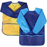 Starthi Kids Childrens Apron Art Smocks Waterproof Apron, Long Sleeve Children Painting Aprons with 3 Pockets for Painting, P