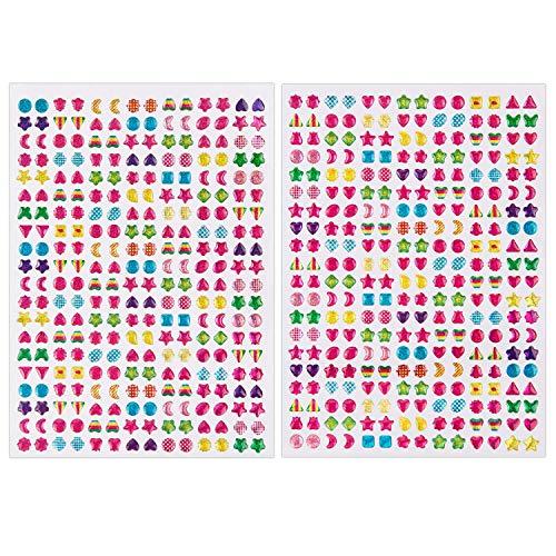 SAVITA 2000+ Klebeohrringe Ohrringe 3D Aufkleber Selbstklebend Klebeohrringe Sticker für Kinder Mädchen Mehrere Farben und Formen(4 Bogen) -