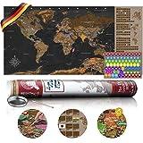 murando - Rubbelweltkarte deutsch XXL - 100x50 cm - Weltkarte zum Rubbeln mit Länder-Flaggen - Laminiert - Design Geschenk-Tube - Viele Extras - Rubbel Landkarte Poster zum freirubbeln - Geschenk Idee - World Map - k-A-0223-o-b