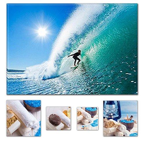 Eco Light Art Wand Leinwand Bundle Spektakuläre Surfer auf die perfekte Welle 80x 119,9cm für Home Décor und Charming Badezimmer Spa Collage-Set von 4gerahmt Kunstwerk. (Teppich Valentine Quadratisch)