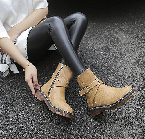 7e6daf1afe120 ... Cheville Éclair Taille Jaune Boots Chaude Plate Cuir Martin Doublure  Fourré Grande Bottes Intérieur Bloc Femme