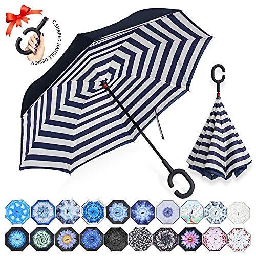 Streifen Gesammelt (ZOMAKE Inverted Stockschirme, Innovative Schirme Double Layer, Winddicht Regenschirm, Freie Hand,Umgedrehter Regenschirm mit C Griff für Auto Outdoor (Blaue Streifen))