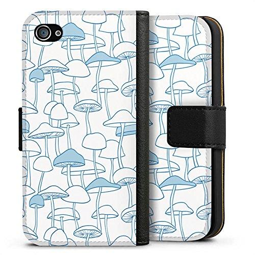Apple iPhone X Silikon Hülle Case Schutzhülle Pilze Gift Muster Sideflip Tasche schwarz