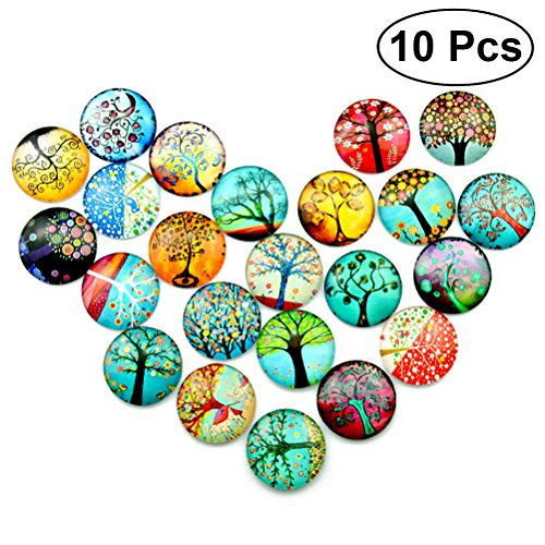 ULTNICE 10pcs Mosaic Printed Glass 12mm Round Crafts mosaic tile supplies for Jewelry Making