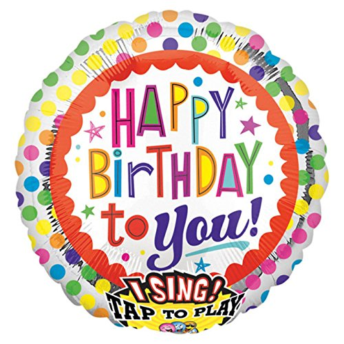 amscan 2686901 Folienballon Sing-A-Tune Happy Birthday, Punkte Bunt