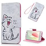 Lanveni Coque pour Samsung Galaxy S7 Edge Housse Étui à Rabat en Cuir PU + TPU Bookstyle Wallet Cartes Slots Fonction Support Rabat Flip Phone Case de Protection Fermeture Aimantée - Mignon Chat
