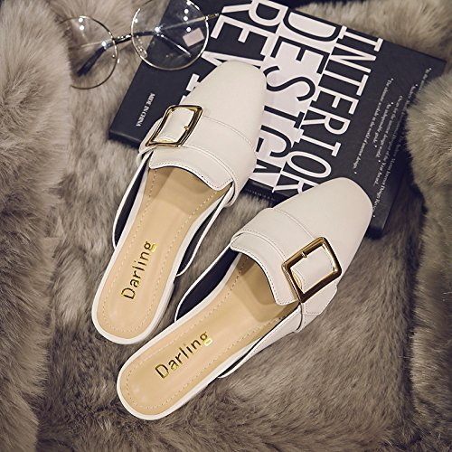 Cystyle 2017 Klassisch Pu Leder Sommer Damen Flache Sandalen Schuhe Elegant Slipper Hausschuhe Weiß