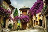 Wallario Poster - Malerische Stadt in der Provence mit bunten Blumen in Premiumqualität, Größe: 61 x 91,5 cm (Maxiposter)