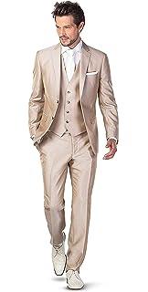 Kengtong Classique Costume Homme Mariage Cérémonie Couleur Unie Champagne 3  Pièces Veste Gilet Pantalons b7cf710a172