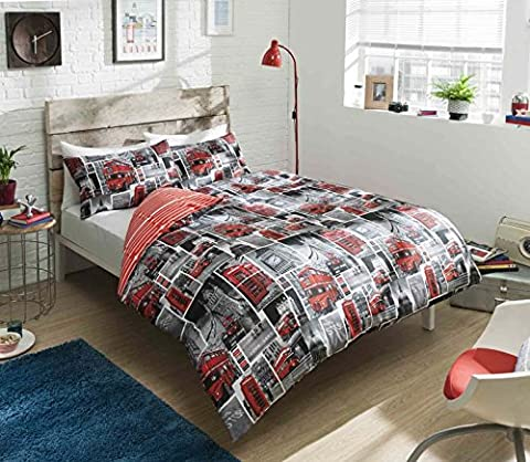 Pieridae London Red Bus Reversible Duvet Bedding Cover Pillowcase Buses Luxury Case Quilt Bed Bedroom Set (Double) by IK Trading