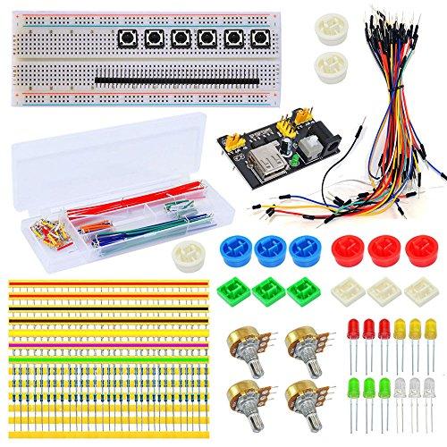 Tolako Electronic supplémentaire kit pour Arduino Starter platine d'expérimentation, câble de Dupont, résistances, LED, Pull fils universel composants kit DIY Element kit