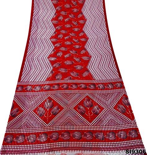 Indian Jahrgang Saree Floral Gedruckte Upcycled Seide Mischung Sarong Roten Kleid Verwendet Kunst Dekor DIY Handwerk Stoff Frauen Ethnischen Mode Sari (Kleid Zick-zack-gedruckt)