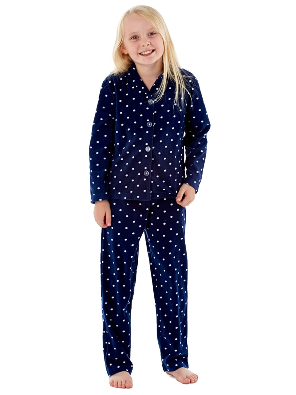 Spot Print Girls Revere Collar Warm Fleece Pyjama Fuschia and Navy 7 to 13 YEARS