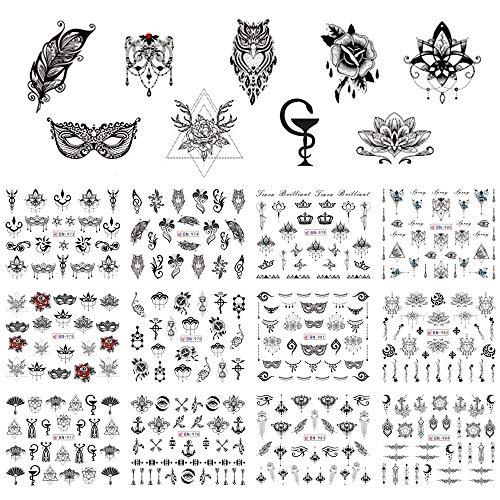12 Designs Nagellack Aufkleber Retro Black Owl Schmuck Blumen Maske Feder Symbol Wasser Decals Maniküre Tattoos - Owl Papier Gewicht