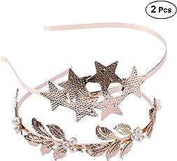 Frcolor 2Pcs Golden Bridal Headband Wedding Baroque Hairband Headpiece Party Headwear