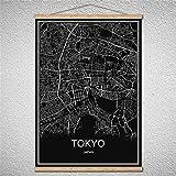 TIANLIANG Benutzerdefinierte Muster Welt Stadt Bratislava Karte Öl Malerei Moderne Poster Leinwand Abstrakte Bild Drucken Mit Rahmen, Tokyo, 40 X 60 cm Mit Rahmen