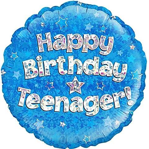 Oaktree 45,7cm Kreis Happy Birthday Teenager Folienballon, blau, 18in (Effect Champagne)