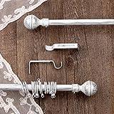 AT17 Gardinenstange Vorhangstange Gardinenstange Variable Länge Landhaus Shabby Chic - Sphäre - 160-300 - Durchmesser 2 cm - Weiß/Silber - Metall