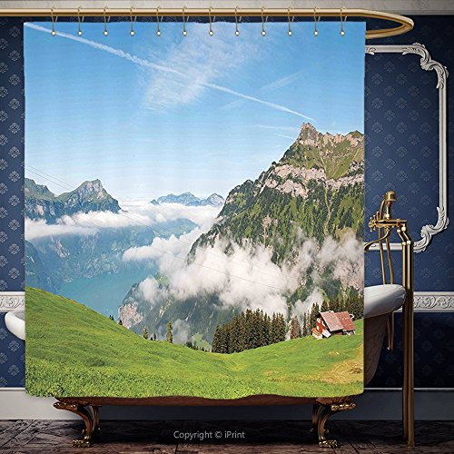 182,9x 213,4cm Duschvorhang Mountain Pastoral View Schweiz See Luzern Bewölkt Grassland Pines Altdorf Uri blau grün weiß 10499Polyester Badezimmer Zubehör Home Dekoration, Polyester, Multy, 72W x 84H Inch Thomas Duschvorhang