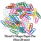 SAISAN 100 Pieces Silver Tone Metal U Shape Paper Pin (Size:28 mm)