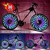 Ireenuo Luci a LED per raggi e cerchione di ruota di bicicletta, impermeabili e a prova di urti, numero di LED: 36 nei colori RBG, lampeggianti, per ruote di bici da 24 pollici, con 32 motivi cambianti disponibili, 8001