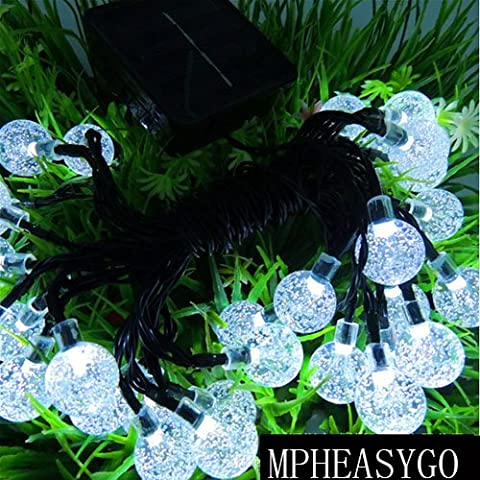 Guirnaldas Luces Navidad 30 LED 5M Gurinaldas Luminosas Blanco Bolas de Cristal Para Decoración de Navidad, Jardín, Patio, Fiesta, Dormitorio, Reunión Familiar(Energía Solar)