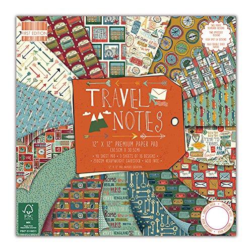 First Edition Travel Notes - Fogli di carta FSC per découpage, 30 x 30 cm