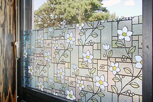"""Tamia-Living Statische Fensterfolie 90% UV-Sonnenschutz Selbsthaftende Sichtschutzfolie Glasdekor """"blaue Blumen"""" M003 (60*150cm)"""