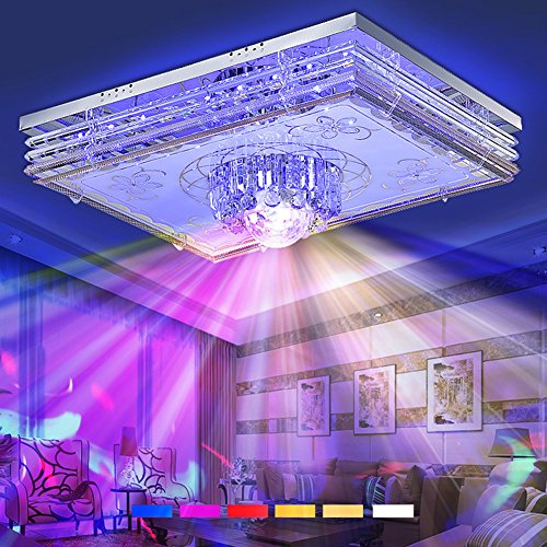 LOERO 48W-120W Musik Deckenleuchte und Umgebungslicht mit Bulit-in Bluetooth Lautsprecher Fernbedienung und App Enthalten, Ideal Für Party Wohnzimmer Schlafzimmer Küche Esszimmer,95 * 75CM