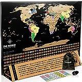Hochwertige Weltkarte Zum Rubbeln Gold (43 x 61 cm) Inkl. Rubbelchip Und Sticker (Englisch) - Perfektes Geschenk für Weltenbummler