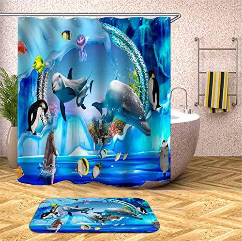 Delfine, Pinguine, Quallen Im Aquarium. Duschvorhang. Wasserdicht. 180X180Cm. Teppich. Plus Samt. 40X60Cm. ()