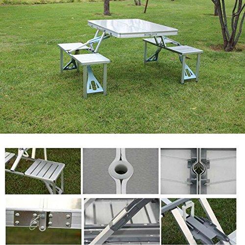 extérieur en aluminium pliable portable Camp Valise Portable temps de pique-nique pliable Table de pique-nique pliante avec assise pour 4 sièges, Argent