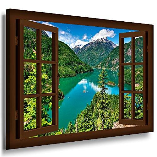 BOIKAL XXL58-12 Fensterblick Leinwand bild 3D Illusion - FERTIG GERAHMTE BILDER Kein POSTER ! !...