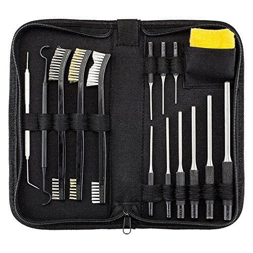 BOOSTEADY Kit de Nettoyage pour Fusil Tout-en-Un avec Kit Chasse-goupilles, kit de brosses de Nettoyage pour Fusil, Chiffon en Silicone antirouille dans Une Pochette Portable(15 pièces)